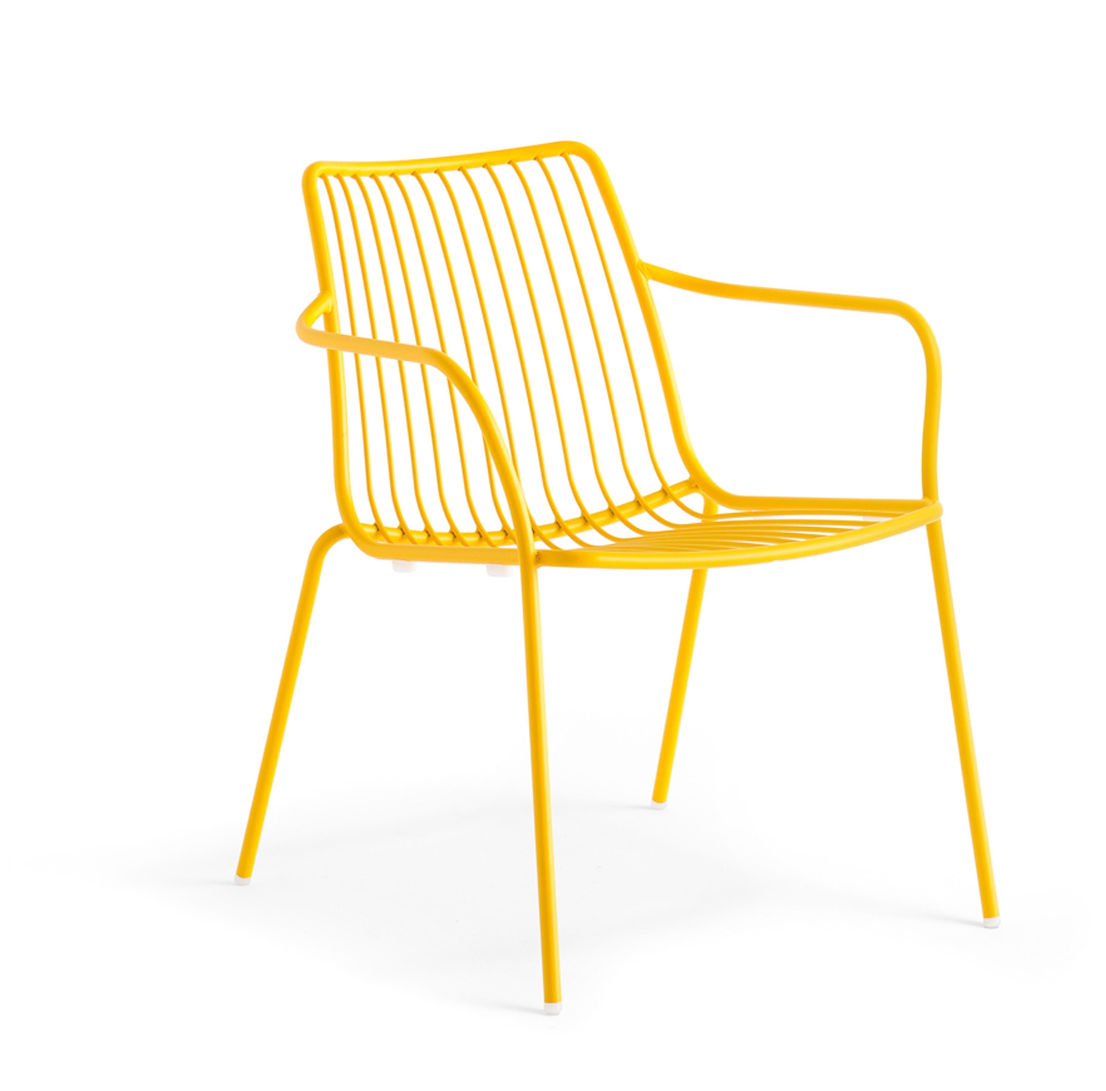 Sessel Gelb Metall Mit Armlehne Stapelbar Garten Sessel Lounge