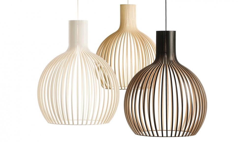 Design-Pendelleuchte aus Birkenholz in vier Farben