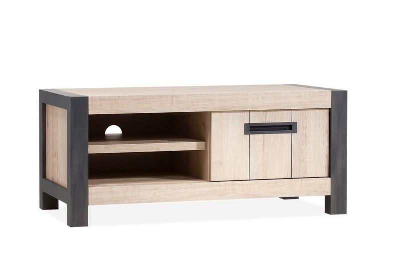 TV Schrank Industrie mit 1 Schublade, Fernsehschrank Industriedesign, Breite 114 cm