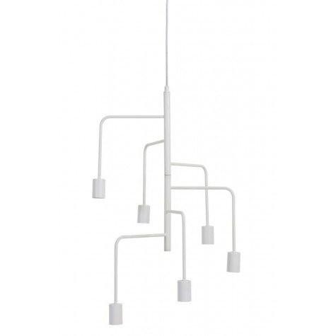 Hängeleuchte weiß 6 flammig, Hängelampe Metall weiß, Durchmesser 51 cm