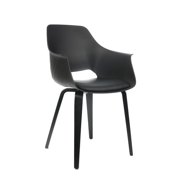 Stuhl schwarz Kunststoff, Stuhl gepolstert schwarz