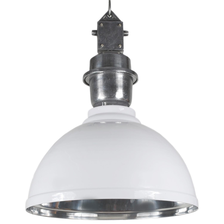 Pendelleuchte weiß - silber Industrie-Lampe, Hängelampe weiß Industrie, Durchmesser 43 cm