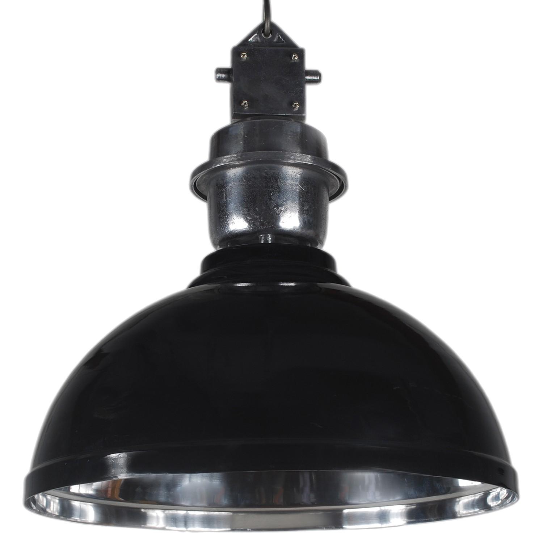 Pendelleuchte schwarz - silber Industrie-Lampe, Hängelampe schwarz Industrie, Durchmesser 52 cm