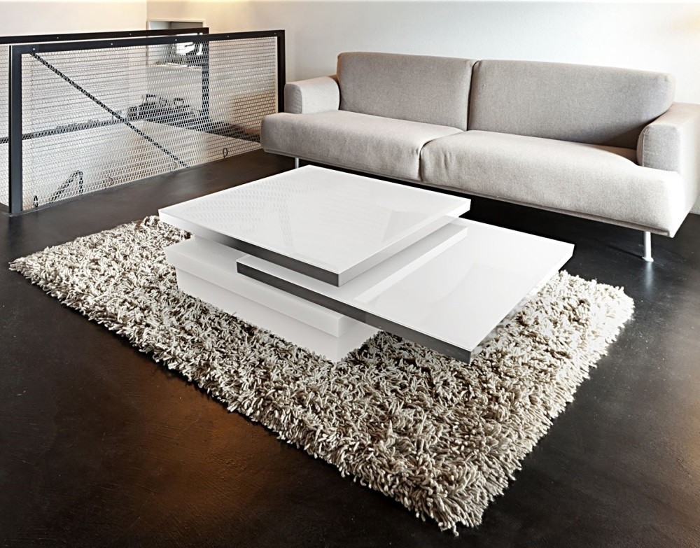Couchtisch weiß, Couchtisch Glas, Glastisch weiß,  Maße 90x60 cm