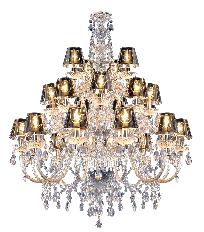 Kronleuchter 30 Armig, Kronleuchter Mit Lampenschirmen Silber, Durchmesser  130 Cm