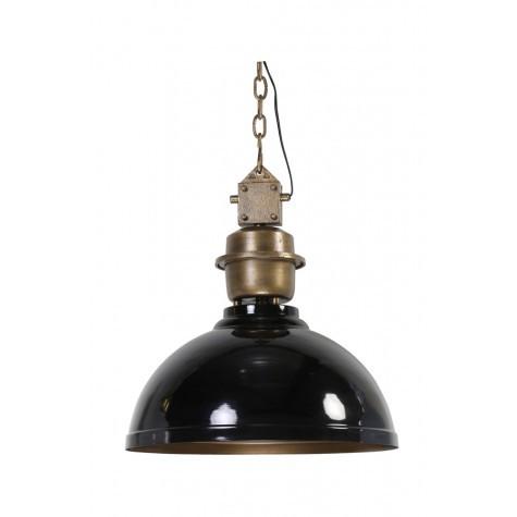 Pendelleuchte schwarz-bronze im Industriedesign, Hängeleuchte schwarz, Durchmesser 52 cm
