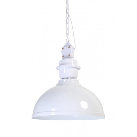 Pendelleuchte weiß im Industriedesign, Hängeleuchte weiß, Durchmesser 52 cm