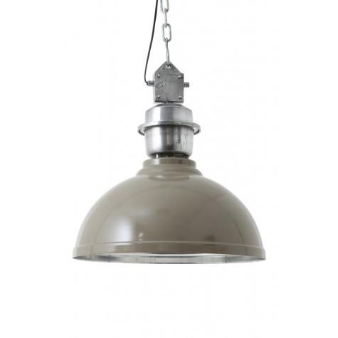 Pendelleuchte grau-taupe im Industriedesign, Hängeleuchte grau, Durchmesser 52 cm