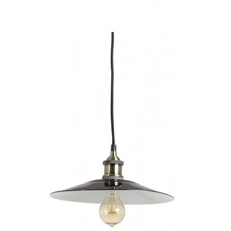 Hängelampe schwarz-nickel im Industriedesign, Pendelleuchte schwarz Landhausstil, Durchmesser 28 cm