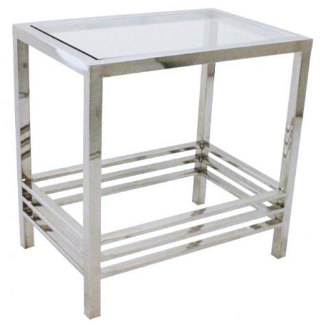 Beistelltisch rechteckig,  verchromt aus Metall und Glas, Maße 60 x 40 cm