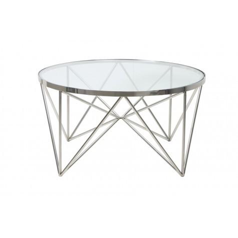 Couchtisch rund silber Glas-Metall, Tisch rund verchromt Metall und Glas, Durchmesser 80 cm