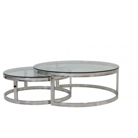 2er set couchtisch rund silber glas metall tisch rund verchromt metall und glas durchmesser. Black Bedroom Furniture Sets. Home Design Ideas