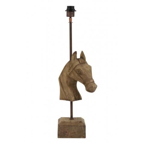 Lampenfuß Tischlampe Holz, Tischleuchte Pferd Holz-Metall