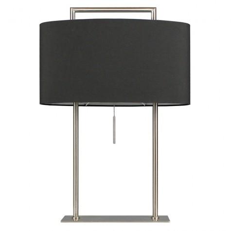 Tischlampe mit Lampenschirm schwarz, Tischleuchte Edelstahl satiniert, Höhe 64 cm
