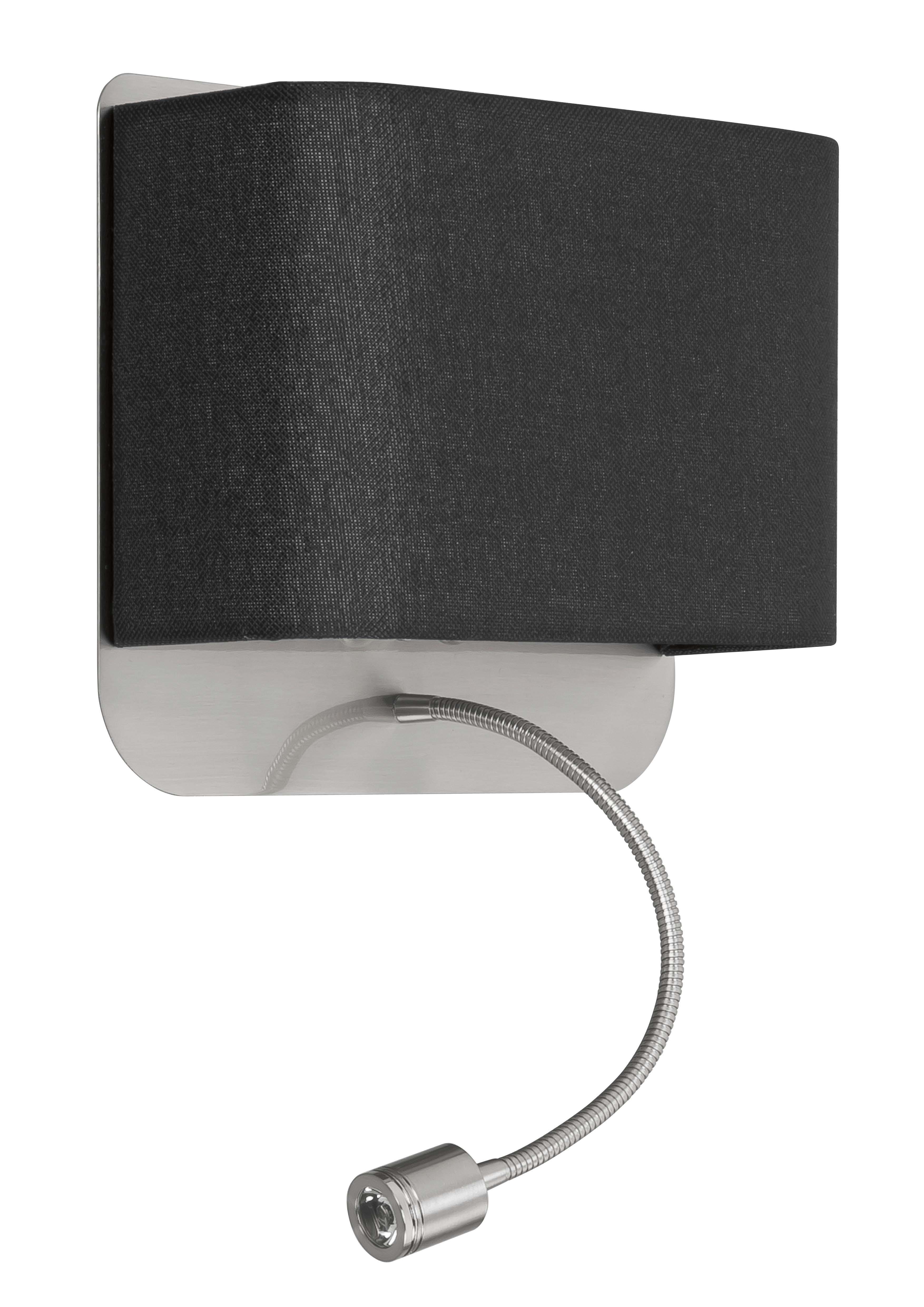 Wandleuchte metall silber satiniert lampenschirm schwarz for Led lampenschirm