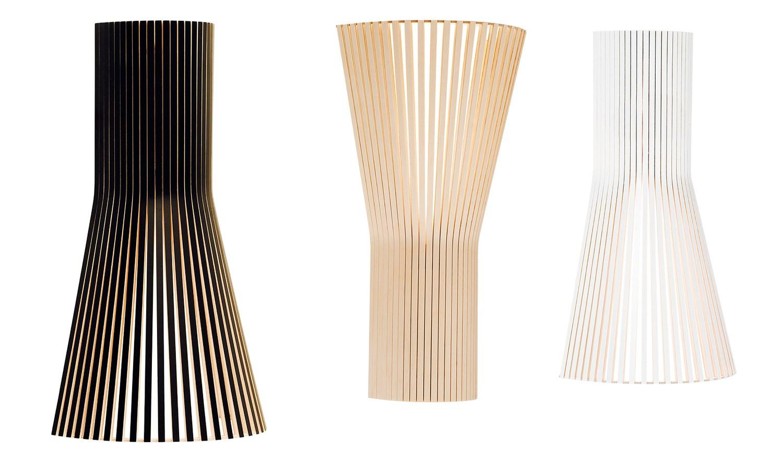 Design Wandleuchte aus Birkenholz, in vier Farben, 45 cm