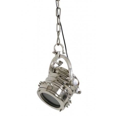 Hängeleuchte silber, Hängelampe auf Kette silber, Durchmesser 17 cm