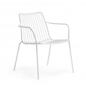 Sessel weiß Metall mit Armlehne stapelbar, Garten - Sessel Lounge aus Metall, Sessel Outdoor weiß