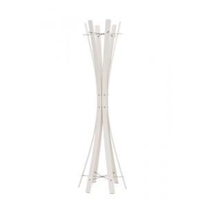 Garderobenständer aus Holz massiv und Edelstahl, moderne Garderobe mit Hacken aus Edelstahl, Ø 48 cm