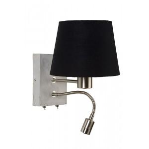 Wandlampe LED mit Lampenschirm schwarz, Wandleuchte mit LED Strahler