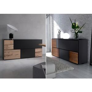 Sideboard schwarz, Anrichte mit fünf Türen, Sideboard in zwei Farben, 180 cm