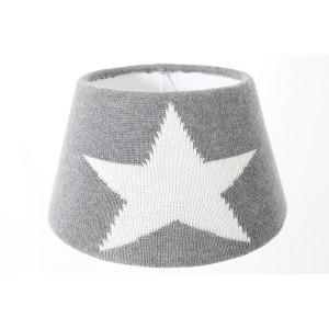 Lampenschirm aus Strickstoff, Wolle Grau-Weiß, Form rund 30 cm