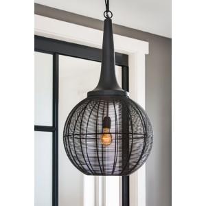 Pendelleuchte schwarz Metall, Pendellampe Draht-Metall, Hängeleuchte Metall schwarz, Ø 57 cm