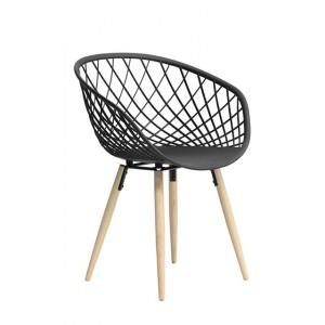 Stuhl schwarz, Stuhl schwarz mit Naturholz-Stuhlbeinen