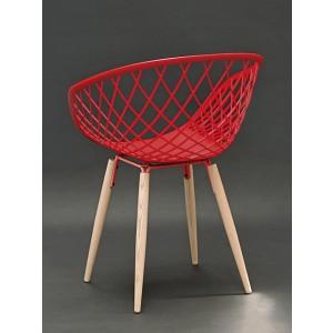 Stuhl rot, Stuhl rot mit Naturholz-Stuhlbeinen