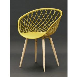 Stuhl gelb, Stuhl gelb mit Naturholz-Stuhlbeinen