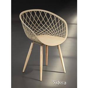 Stuhl beige, Stuhl beige mit Naturholz-Stuhlbeinen