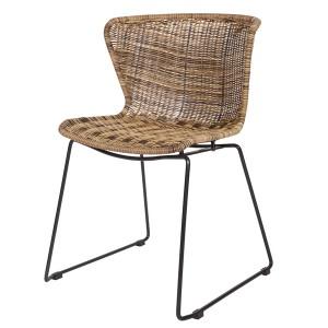 Stuhl Rattan braun, Esszimmerstuhl braun, 2er Set