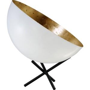 Stehleuchte/Strahler gold-weiß, Gestell schwarz, Industrielampe/ Retro-style, Schirm-Ø: 40 cm