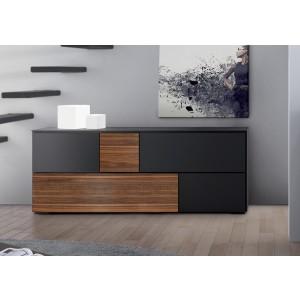 Sideboard schwarz-Walnuss, Anrichte mit fünf Türen, 220 cm