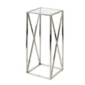 Säule verchromt, Beistelltisch verchromt aus Metall und Glas, 40 x 40 cm