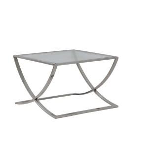 Couchtisch Silber Glas-Metall verchromt, Beistelltisch verchromt Glas, Maße 60x60 cm