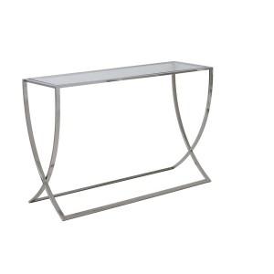 Wandtisch Silber Glas-Metall verchromt, Konsole verchromt Glas, Maße 120x40 cm