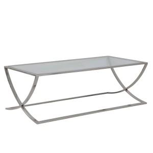 Couchtisch Silber Glas-Metall verchromt, Couchtisch verchromt Glas, Maße 120x60 cm