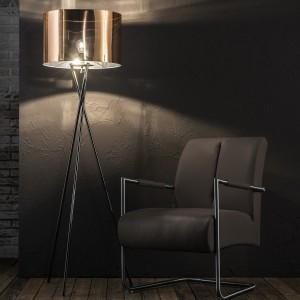 Stehlampe silber-Kupfer, Stehleuchte mit Lampenschirm, Höhe 158 cm