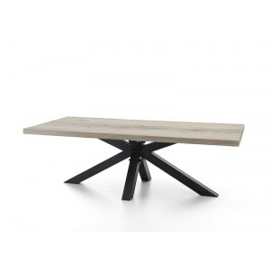 Esstisch Eiche Tischplatte, Tisch Massiv Eiche Industriedesign Gestell Aus  Metall, Maße 220 X