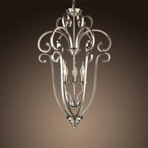 Kronleuchter silber satiniert, Pendelleuchte silber, Hängelampe silber, Lampe silber,  Ø 45 cm