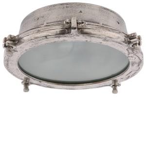 Deckenleuchte rund Industriedesign, Deckenlampe silber-antik Industrie, Durchmesser 42 cm