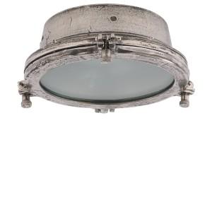 Deckenleuchte rund Industriedesign, Deckenlampe silber-antik Industrie, Durchmesser 22 cm