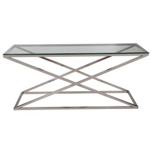 Sideboard Glas-Metall, Wandtiisch verchromt Metall Glasplatte, Breite 160 cm