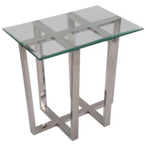 Beistelltisch rechteckig Glas-Metall, Tisch Glas verchromt Metall, Höhe 56 cm