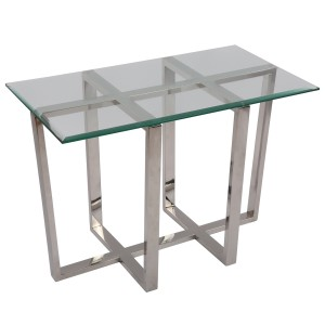 Beistelltisch rechteckig Glas-Metall, Wandtisch Glas verchromt, Tisch Glas verchromt Metall, Höhe 56 cm