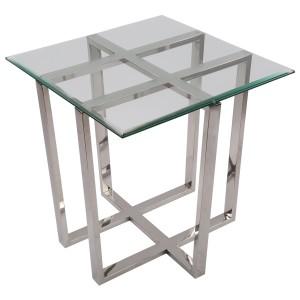 Beistelltisch quadratisch Glas-Metall, Tisch Glas verchromt Metall, Höhe 62 cm