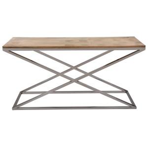 Sideboard Holz-Metall, Wandtiisch verchromt Metall Holzplatte, Breite 150 cm