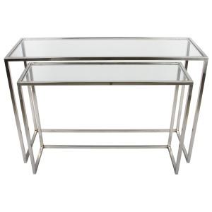 2er Set Sideboard Glas-Metall, Wandtiisch verchromt Metall Glasplatte, Breite 120 cm