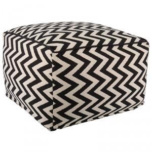 Pouf schwarz-weiß, Sitzpouf Textil  weiß-schwarz, Hocker weiß-schwarz